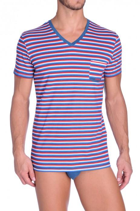 Diesel V-Shirt Michael Rood-Wit-Blauw