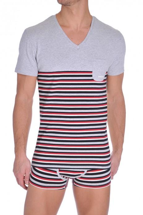 Diesel V-Shirt Michael Zwart-Wit-Rood
