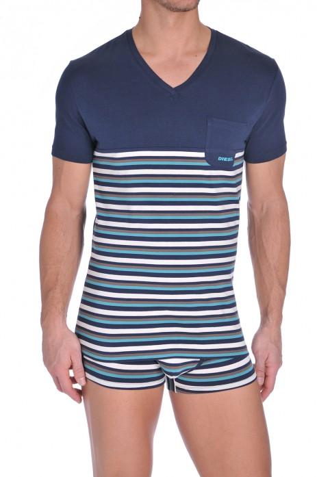 Diesel V-Shirt Michael Aqua-Blauw-Wit