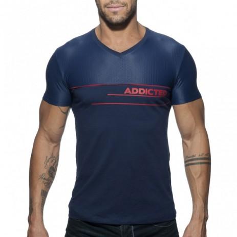 Addicted V-Neck Combi Mesh T-Shirt - Blauw