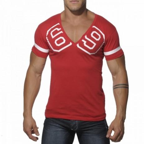 Addicted AD199 69 V-Hals T-Shirt Rood Voorkant