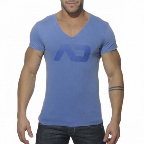 Addicted AD214 Vintage V-Hals T-Shirt Blauw Voorkant
