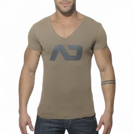 Addicted AD214 Vintage V-Hals T-Shirt Kaki Voorkant