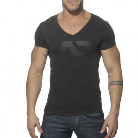 Addicted AD214 Vintage V-Hals T-Shirt Zwart Voorkant