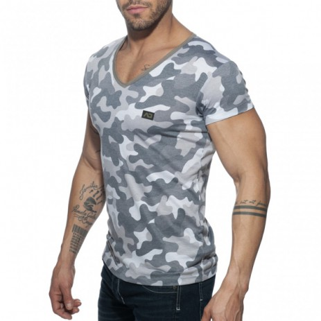 Addicted Washed Camo T-Shirt - Charcoal zijkant