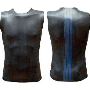 Mister B Rubber Sleeveless T Blue Striped Back