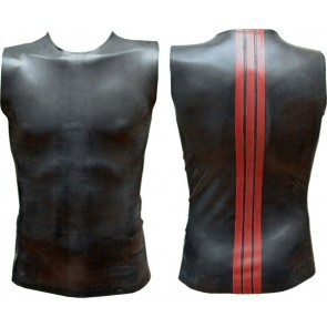 Mister B Rubber Sleeveless T Red Striped Back
