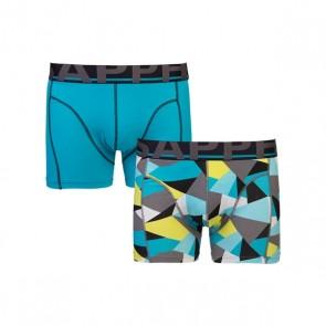 Sapph Edward 2-Pack Cotton Long Boxershorts - Aqua Block Print