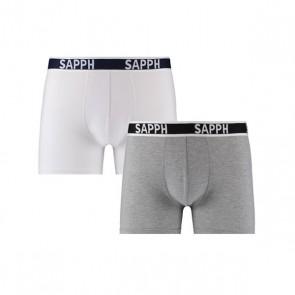Sapph Howie 2-Pak Katoenen Boxershorts - Wit / Grijs