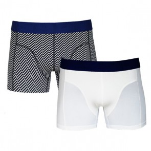 Sapph Ethan Micro Boxer 2 Pack - Geometric White - duo verpakking