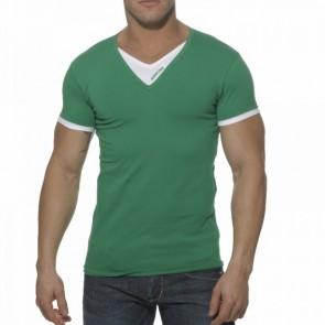 Addicted AD121 V-Hals Dubbel Effect T-Shirt Groen OP=OP!
