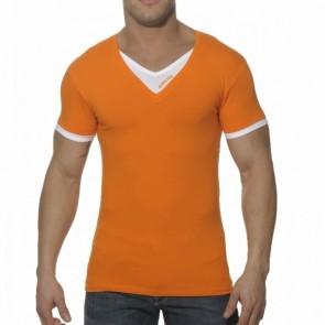Addicted AD121 V-Hals Dubbel Effect T-Shirt Oranje OP=OP!