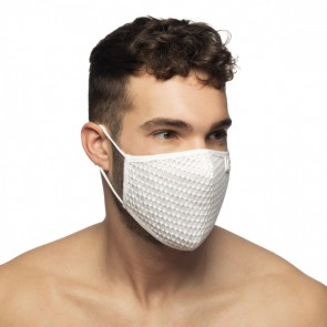 Addicted Party Face Mask - Wit model schuin voor
