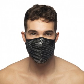 Addicted Party Face Mask - Zwart model voorkant