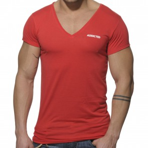 Addicted Basic V-Neck T-Shirt - Rood