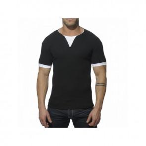 Addicted Ribbed T-Shirt - Zwart