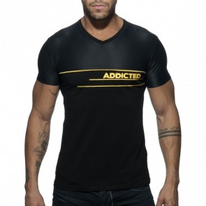 Addicted V-Neck Combi Mesh T-Shirt - Zwart
