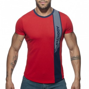 Addicted Vertical Stripe T-Shirt - Rood