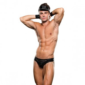 Envy Biker Bikini Bottom en Handboeien Set - Zwart