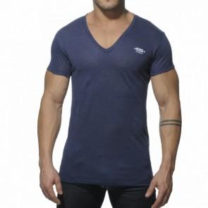 ES Linnen V Neck T-Shirt Navy