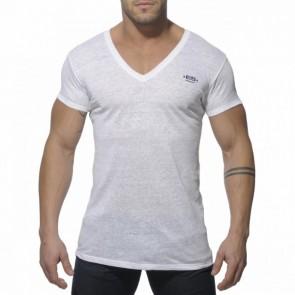 ES Linnen V Neck T-Shirt Wit