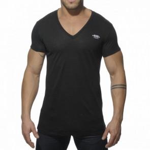 ES Linnen V Neck T-Shirt Zwart