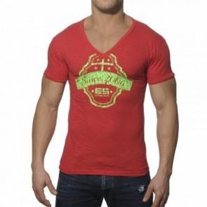 ES Neon Print V-Neck T-Shirt Rood