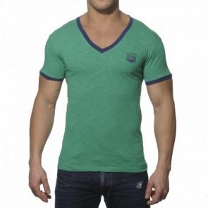 ES Contrast Binding V-hals Shirt Groen