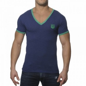 ES Contrast Binding V-hals Shirt Navy
