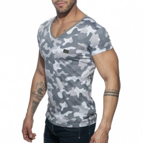Addicted Washed Camo T-Shirt - Charcoal zijkant