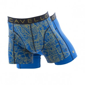 Cavello 2 Pack Boxershorts - Landkaart Print / Blauw