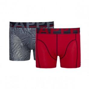 Sapph Cotton Long Short 2-Pack Red / Grey Print