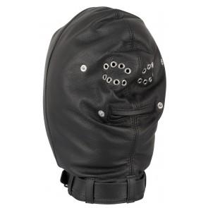 Leren Isolatie Masker - Zwart van zijkant