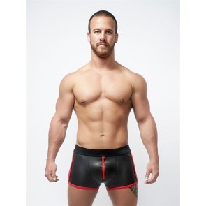 Mister B Neoprene Pouch Shorts Zwart Rood