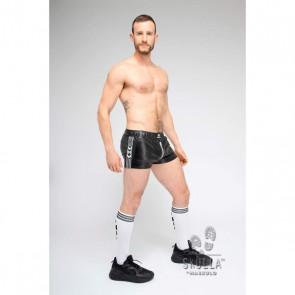 Maskulo Skulla Leatherette Jogging Shorts - Wit schuin voor