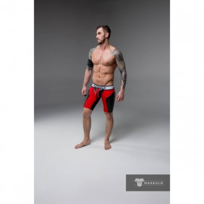 Maskulo Armored Fetish Shorts With Codpiece - Red