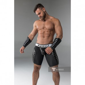Maskulo Armored Fetish Shorts With Codpiece - Black