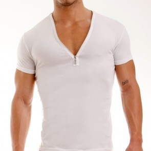 Modus Vivendi Zipper V-Shirt Wit