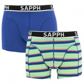 Sapph James Boxer Set - Mint Yarn Dye / Blue